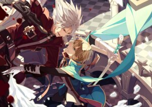 Rating: Safe Score: 13 Tags: blazblue heterochromia kisaragi_jin male ragna_the_bloodedge selenoring sword User: charunetra