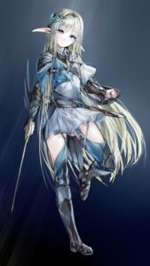 Rating: Safe Score: 66 Tags: armor dress elf pointy_ears sinker stockings sword thighhighs User: KazukiNanako