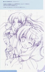 Rating: Safe Score: 7 Tags: ef_~a_fairytale_of_the_two~ hayama_mizuki monochrome nanao_naru seifuku shindou_kei sketch User: admin2