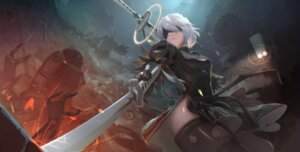 Rating: Safe Score: 44 Tags: dress mecha nier_automata shon sword thighhighs yorha_no.2_type_b User: Mr_GT