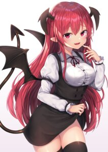 Rating: Safe Score: 49 Tags: devil koakuma pointy_ears skirt_lift tail thighhighs touhou wings wowoguni User: Dreista