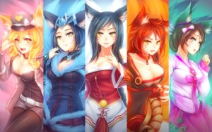 Rating: Questionable Score: 93 Tags: ahri animal_ears cleavage kerasu kitsune league_of_legends pantyhose tail wallpaper User: fairyren
