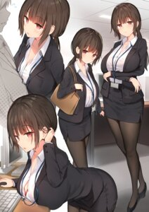 Rating: Questionable Score: 70 Tags: bra breast_hold business_suit cleavage heels pantyhose see_through sune_(mugendai) User: Arsy