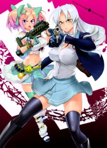 Rating: Questionable Score: 45 Tags: gun inazuma kiba_mikoto nashida_oriha thighhighs triage_x User: donicila