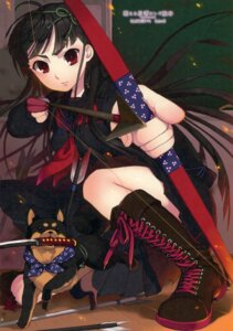 Rating: Safe Score: 24 Tags: active_mover momo_uzura paper_texture seifuku sword User: fireattack
