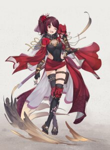 Rating: Questionable Score: 30 Tags: 390378812 armor cameltoe fishnets garter leotard ninja sword thighhighs weapon User: sym455