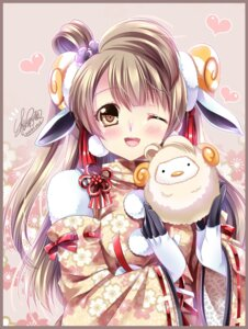 Rating: Safe Score: 33 Tags: animal_ears horns japanese_clothes love_live! minami_kotori sakurano_ruu signed User: Mr_GT