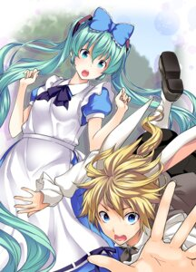 Rating: Safe Score: 17 Tags: alice_in_wonderland animal_ears bunny_ears cosplay hatsune_miku kagamine_len tosh vocaloid User: Nekotsúh