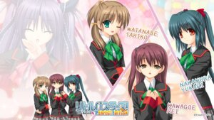 Rating: Safe Score: 8 Tags: kawagoe_rei key little_busters! na-ga nakamura_yukari seifuku wallpaper watanabe_sakiko User: girlcelly