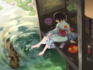 Rating: Safe Score: 30 Tags: feet japanese_clothes skirt_lift wet ymr yukata User: Mr_GT