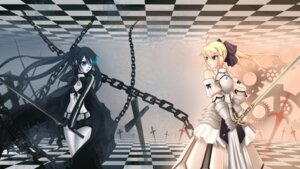 Rating: Safe Score: 26 Tags: black_rock_shooter black_rock_shooter_(character) crossover fate/stay_night lun_wuqu saber saber_lily vocaloid wallpaper User: MyNameIs