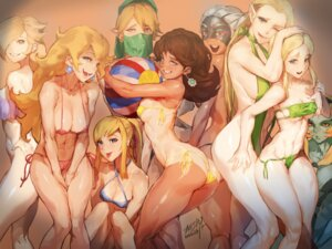 Rating: Questionable Score: 61 Tags: ass bikini breast_grab cleavage crossover erect_nipples mario_bros. metroid midna pointy_ears princess_daisy princess_peach_toadstool princess_zelda rosalina saejin_oh samus_aran sling_bikini swimsuits tan_lines the_legend_of_zelda underboob yuri User: Spidey