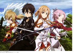 Rating: Safe Score: 30 Tags: armor asuna_(sword_art_online) kawakami_tetsuya kirito lisbeth pina silica sword sword_art_online thighhighs weapon User: drop