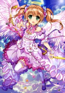 Rating: Safe Score: 60 Tags: angel dress fujima_takuya garter thighhighs weapon wings User: drop