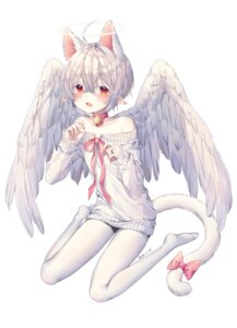 Rating: Safe Score: 4 Tags: animal_ears male nekomimi pantyhose pointy_ears shiro_albino sweater tail trap wings User: BattlequeenYume