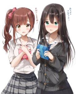 Rating: Safe Score: 41 Tags: igarashi_kyouko pentagon_(railgun_ky1206) seifuku shibuya_rin sweater the_idolm@ster the_idolm@ster_cinderella_girls User: mash