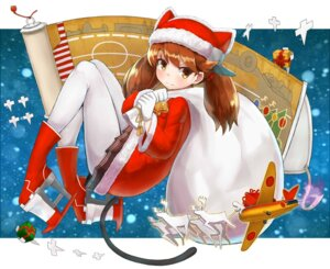 Rating: Safe Score: 30 Tags: christmas kantai_collection okitsugu pantyhose ryuujou_(kancolle) tail User: Mr_GT