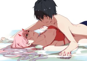 Rating: Questionable Score: 32 Tags: bikini_top chenaze57 cleavage darling_in_the_franxx hiro_(darling_in_the_franxx) horns wet zero_two_(darling_in_the_franxx) User: Spidey