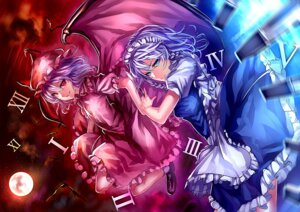 Rating: Safe Score: 19 Tags: izayoi_sakuya maid remilia_scarlet touhou uu_uu_zan weapon wings User: charunetra