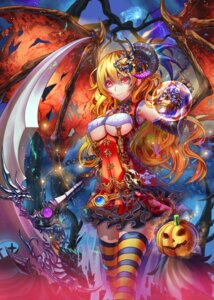 Rating: Questionable Score: 50 Tags: halloween horns kaku-san-sei_million_arthur tako_seijin thighhighs underboob weapon wings User: Mr_GT