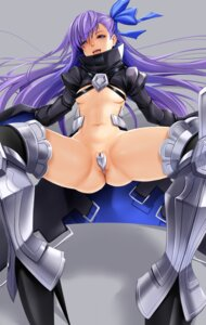 Rating: Questionable Score: 25 Tags: armor bottomless fate/grand_order janong maebari meltlilith no_bra thighhighs User: charunetra