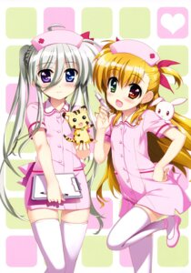 Rating: Safe Score: 58 Tags: asteion einhart_stratos fujima_takuya heterochromia mahou_shoujo_lyrical_nanoha mahou_shoujo_lyrical_nanoha_vivid nurse sacred_heart thighhighs vivio User: drop