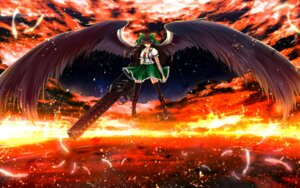 Rating: Safe Score: 19 Tags: gun nekominase reiuji_utsuho seifuku thighhighs touhou wallpaper wings User: Konngara