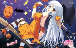 Rating: Questionable Score: 60 Tags: game-style halloween hook lovely_quest pantsu rakko_(maka-rakko) sakuraba_minaho thighhighs wallpaper witch User: sy1412