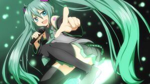 Rating: Safe Score: 14 Tags: hatsune_miku rumia_(compacthuman) thighhighs vocaloid wallpaper User: raiwhiz