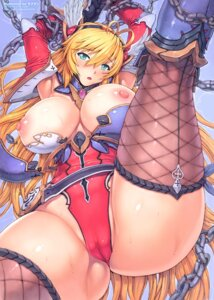 Rating: Questionable Score: 75 Tags: armor bondage breasts cameltoe cleavage comic_unreal fishnets leotard mogudan nipples thighhighs wet User: demonbane1349