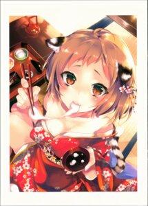 Rating: Safe Score: 12 Tags: animal_ears cleavage kamizuki_shiki kimono open_shirt possible_duplicate tail User: kiyoe