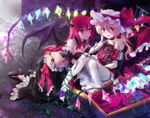 Rating: Questionable Score: 55 Tags: cleavage flandre_scarlet guitar koakuma mikami_mika pantsu string_panties tail thighhighs touhou wings User: Mr_GT