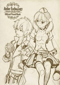 Rating: Safe Score: 8 Tags: atelier atelier_escha_&_logy digital_version escha_malier hidari jpeg_artifacts logix_ficsario monochrome sketch thighhighs User: Shuumatsu
