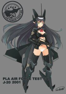 Rating: Safe Score: 25 Tags: anthropomorphization cleavage elf gun j-20 l.leaf mecha_musume pointy_ears thighhighs User: hobbito
