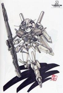Rating: Safe Score: 3 Tags: akitaka_mika bleed_through garter gun mecha_musume monochrome User: withul