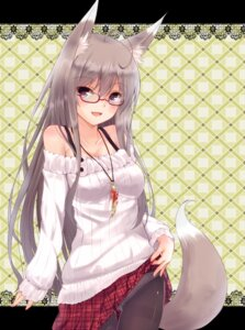 Rating: Questionable Score: 64 Tags: animal_ears kitsune megane pantsu pantyhose second_heaven skirt_lift tail User: inumimi.7