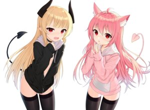 Rating: Safe Score: 49 Tags: animal_ears horns no_bra open_shirt pointy_ears tail thighhighs tttanggvl User: Mr_GT