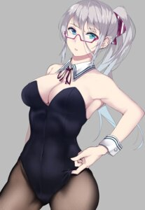 Rating: Questionable Score: 64 Tags: bunny_girl cleavage fishnets megane no_bra saito_(artist) User: mash