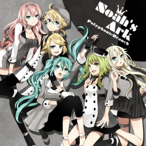 Rating: Safe Score: 25 Tags: buzz cleavage disc_cover dress garter gumi hatsune_miku ia_(vocaloid) kagamine_len kagamine_rin megurine_luka thighhighs vocaloid User: blooregardo