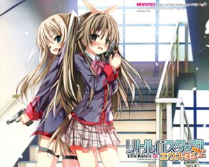 Rating: Safe Score: 27 Tags: garter gun little_busters! naoe_riki seifuku shino_(eefy) tokido_saya trap wallpaper User: maurospider