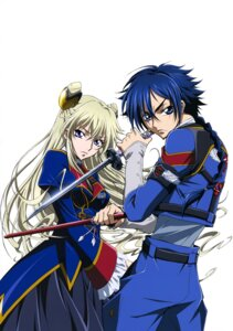 Rating: Safe Score: 8 Tags: akito_the_exiled code_geass hyuuga_akito layla_markale sword uniform User: drop