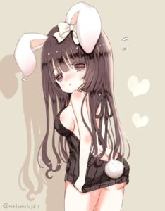 Rating: Questionable Score: 28 Tags: animal_ears ass bunny_ears no_bra nopan shiina_melon sweater tail User: KazukiNanako