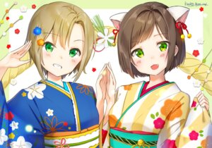 Rating: Safe Score: 24 Tags: animal_ears kimono maekawa_miku shiratama_akane tada_riina the_idolm@ster the_idolm@ster_cinderella_girls User: Mr_GT
