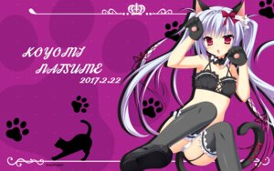 Rating: Questionable Score: 61 Tags: animal_ears bra karumaruka_circle natsume_koyomi neko nekomimi pantsu saga_planets stockings tail thighhighs toranosuke wallpaper User: edogawaconan