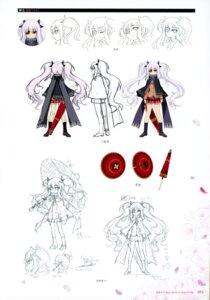 Rating: Safe Score: 7 Tags: character_design expression eyepatch heels line_art seifuku senran_kagura sweater umbrella yaegashi_nan yagyuu User: kiyoe