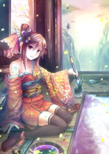 Rating: Safe Score: 37 Tags: cleavage kimono sen_kagura thighhighs User: 椎名深夏