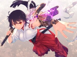 Rating: Safe Score: 7 Tags: itou_(onnsokutassha) mecha_musume miko sword weapon User: Mr_GT