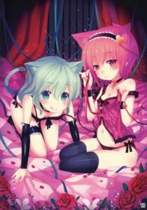 Rating: Questionable Score: 114 Tags: animal_ears cleavage garter komeiji_koishi komeiji_satori lingerie loli minamura_halki nekomimi pantsu shioyude string_panties tail thighhighs touhou User: 椎名深夏