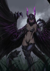 Rating: Questionable Score: 40 Tags: anthropomorphization armor bikini_armor gore_magala horns less monster_girl monster_hunter tail thighhighs wings User: Mr_GT