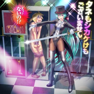 Rating: Questionable Score: 31 Tags: hatsune_miku kagamine_len naked sword thighhighs vocaloid wokada User: SciFi